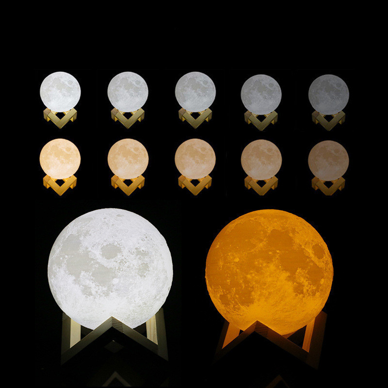 USB Alloet 8-20 cm Diameter Night light  Magical 3D Printing Moon Lamp Touch Switch table lamp E27 LED Rechargeable Night light