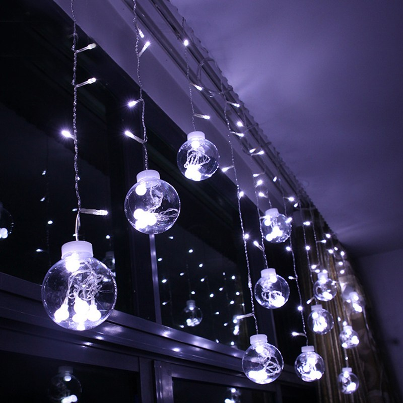 Glass Ball LED String Lights Waterproof 220V 300cm Curtain Lights Flashing Fairy Lights Outdoor Christmas Home Decoration