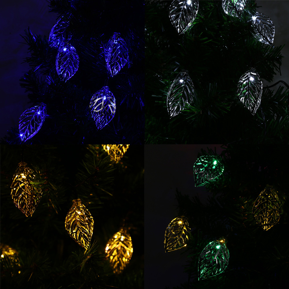 VCT - SLC - 041 20 LEDs Outdoor String Lights Iron Tree Leaf Solar String Light For Holiday Home Party Garden Decoration