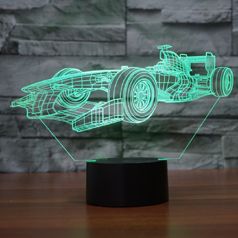 Acrylic 3D light LED Lamp F1 racing car Shape luminaria Lampe USB table desk 3d Led Night Light Friends & Holiday Gifts IY803808