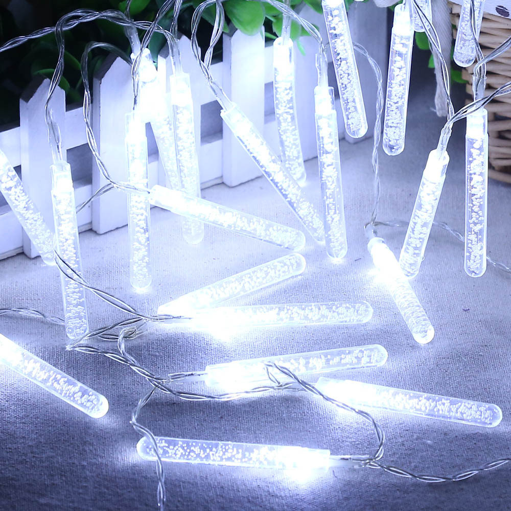 Solar Powered 20 LED Icicle Bubble Bar Picks Cone Lamp Strip Decorative String Light Wedding Christmas Party Garland Decoration