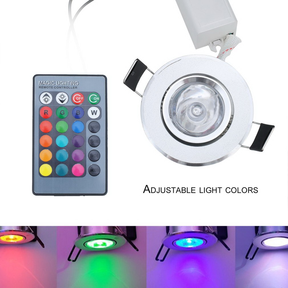 New Hot 3W RGB LED Recessed Ceiling Light Spotlight Downlight Lamp No UV Or IR