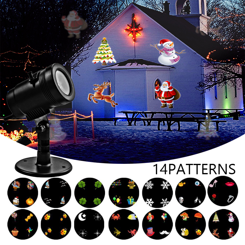 LED Projector Light - New Design House Garden Lighting Show with 14 Festive Lights Designs for Thanksgiving, Christmas, Holiday