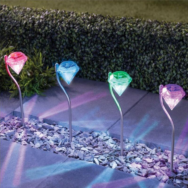 Solar Power LED Light Lawn Outdoor Lamps Waterproof Diamonds Pathway Path Landscape Stake Lamp for Garden Decoration