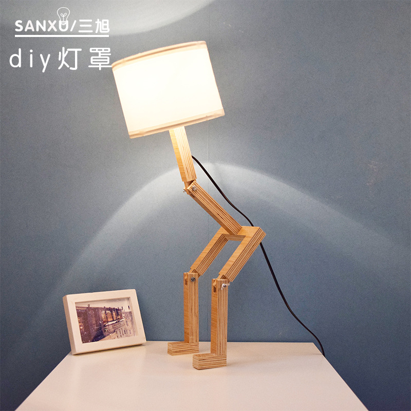 New Creative Small Machine Humanoid Table Lamp Wooden For Bedroom Wood Desk