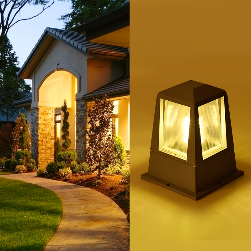 led outdoor lighting garden wall column lamp IP54 waterproof led outdoor wall pillar lamp pathway lawn lighting e27 bulb fixture