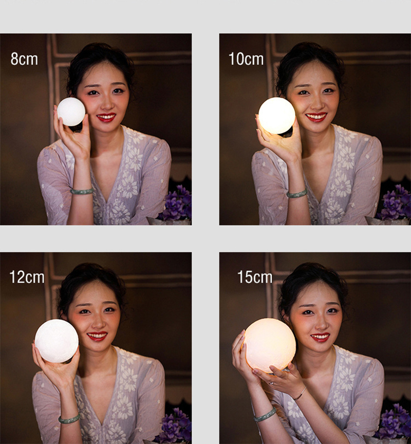 100% Original Rechange 3D Print Moon Light 2 colors change Touch Switch Creative desktop lamp energy saving night light