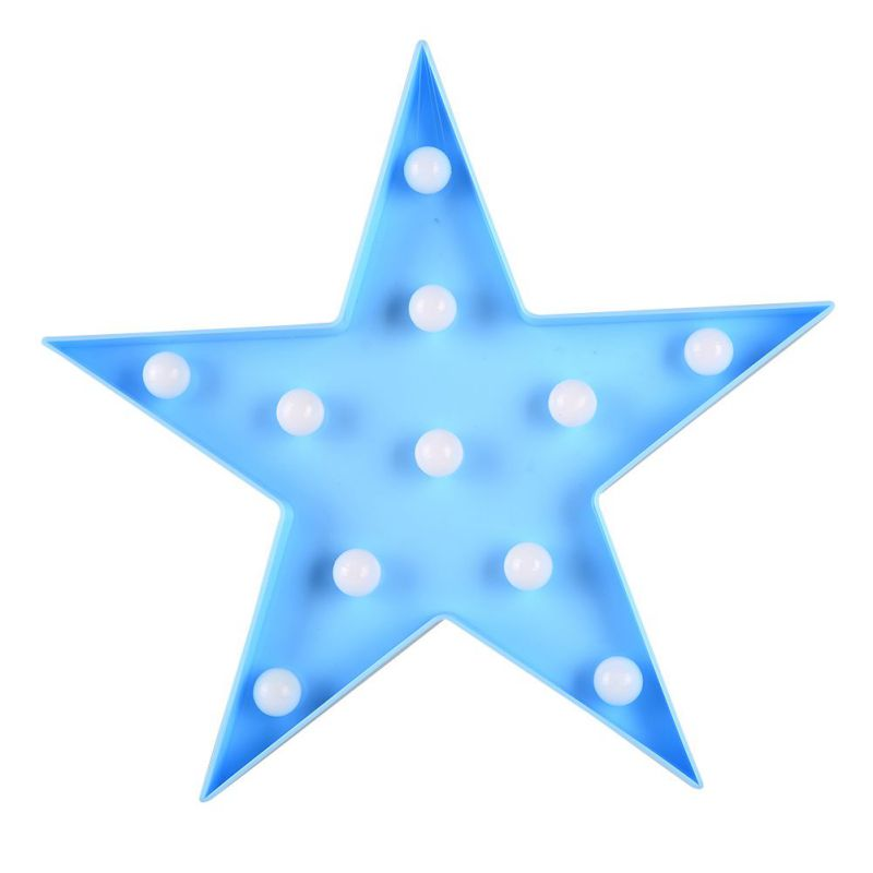 Five-pointed star Night Light Baby Plastic LED Lamp Kids Room Bedside Lamp Party Wedding With USB cable battery, plug power