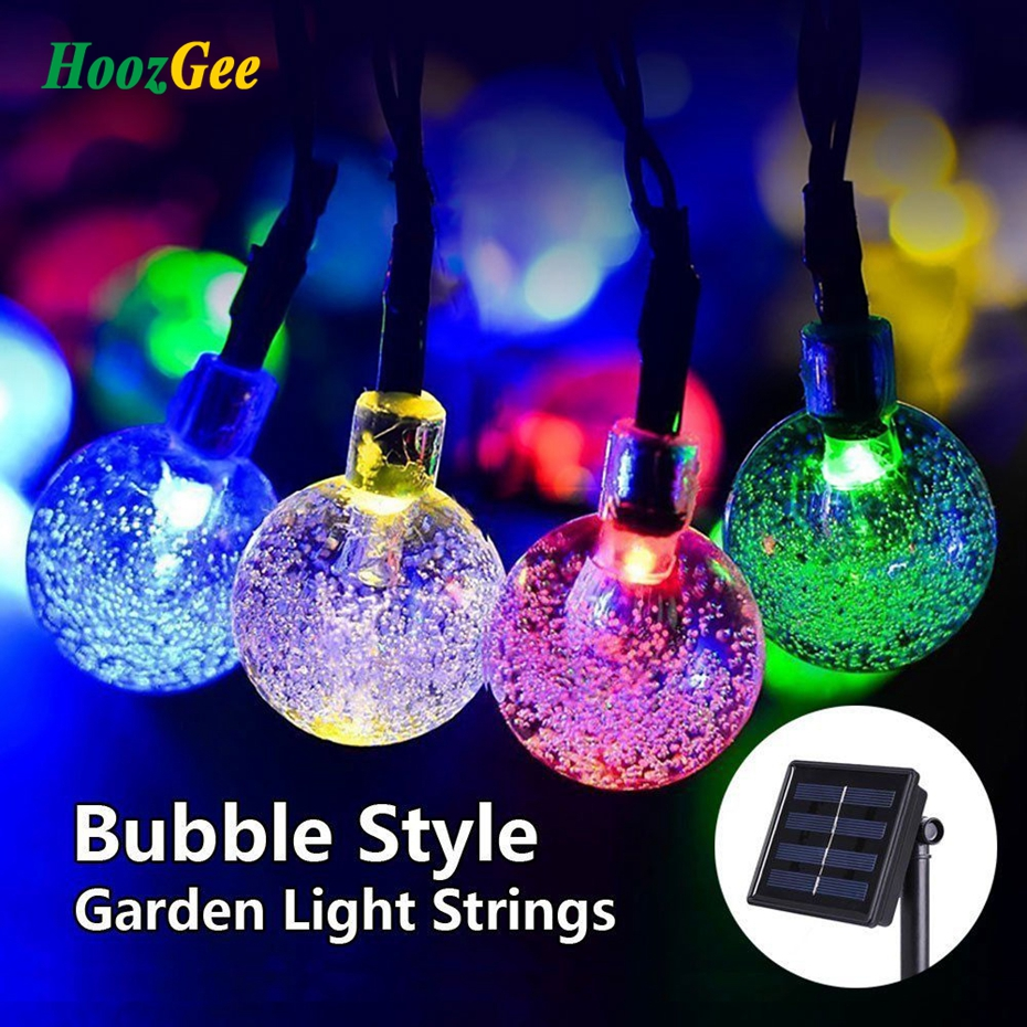 HoozGee Solar String Lights Outdoor Multicolor 30 LED Crystal Ball Christmas Trees Garden Party Decor Dream Fairy Lamp