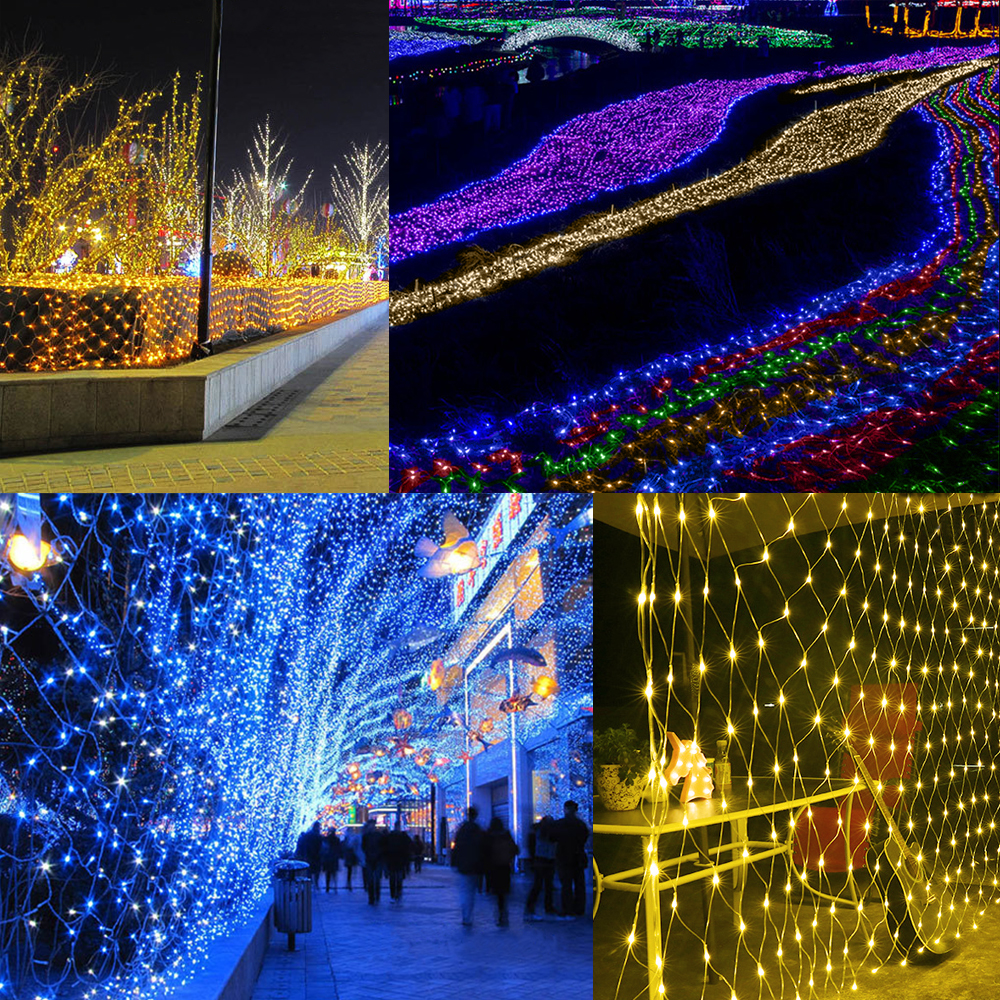 1.5M x 1.5M 96LEDs Net Light 220V / 110V Holiday Fairy Curtain String Light for Outdoor Home New year Christmas decoration