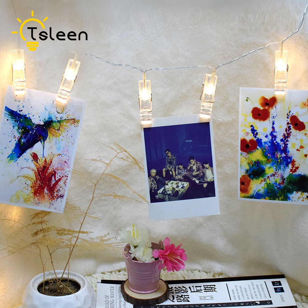 TSLEEN 4M 40 LED String Lights Photo Clip USB Fashion Battery LED Fairy Light Christmas New Year Holiday Wedding Home Decoration