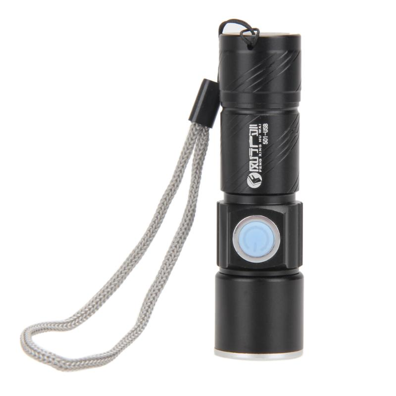 Portable Flashlight with 3-mode Lighting Mini LED Torch Zoomable Waterproof USB Rechargeable Flashlight Torch 9.3 * 2.6 * 2.4cm