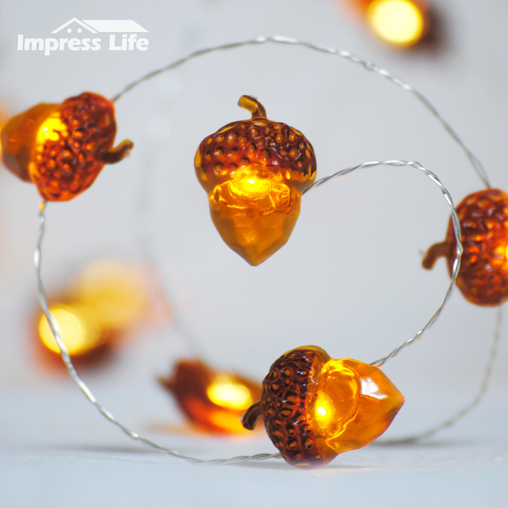 Acorn LED String Lights, Battery 10 ft Copper Wire Dimmer Remote Control Christmas Tree Fairy Fall Thanksgiving Home Decorations