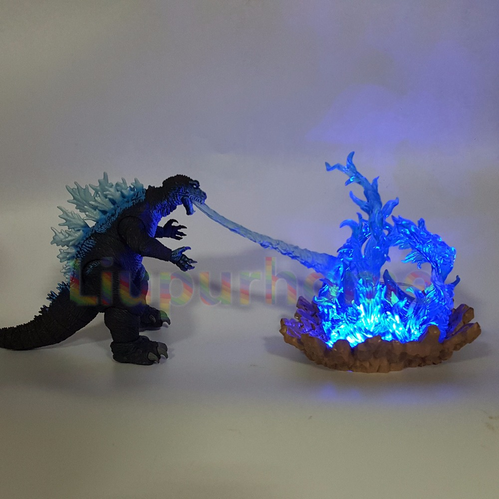 Godzilla Led Cannon Power Blue Fire Skill Anime Movie Godzilla Led Nightlight Lamp Model Toys DIY Set