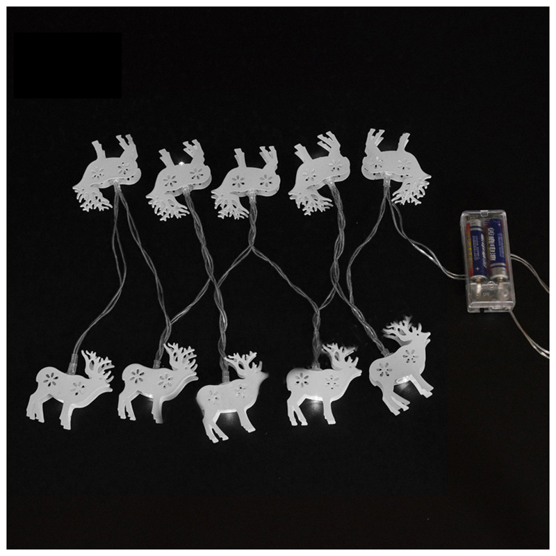 1.65M Metal Reindeer String Lights fairy holiday 10LED light Christmas Santa lighting Party battery powered 3V AA indoor Green