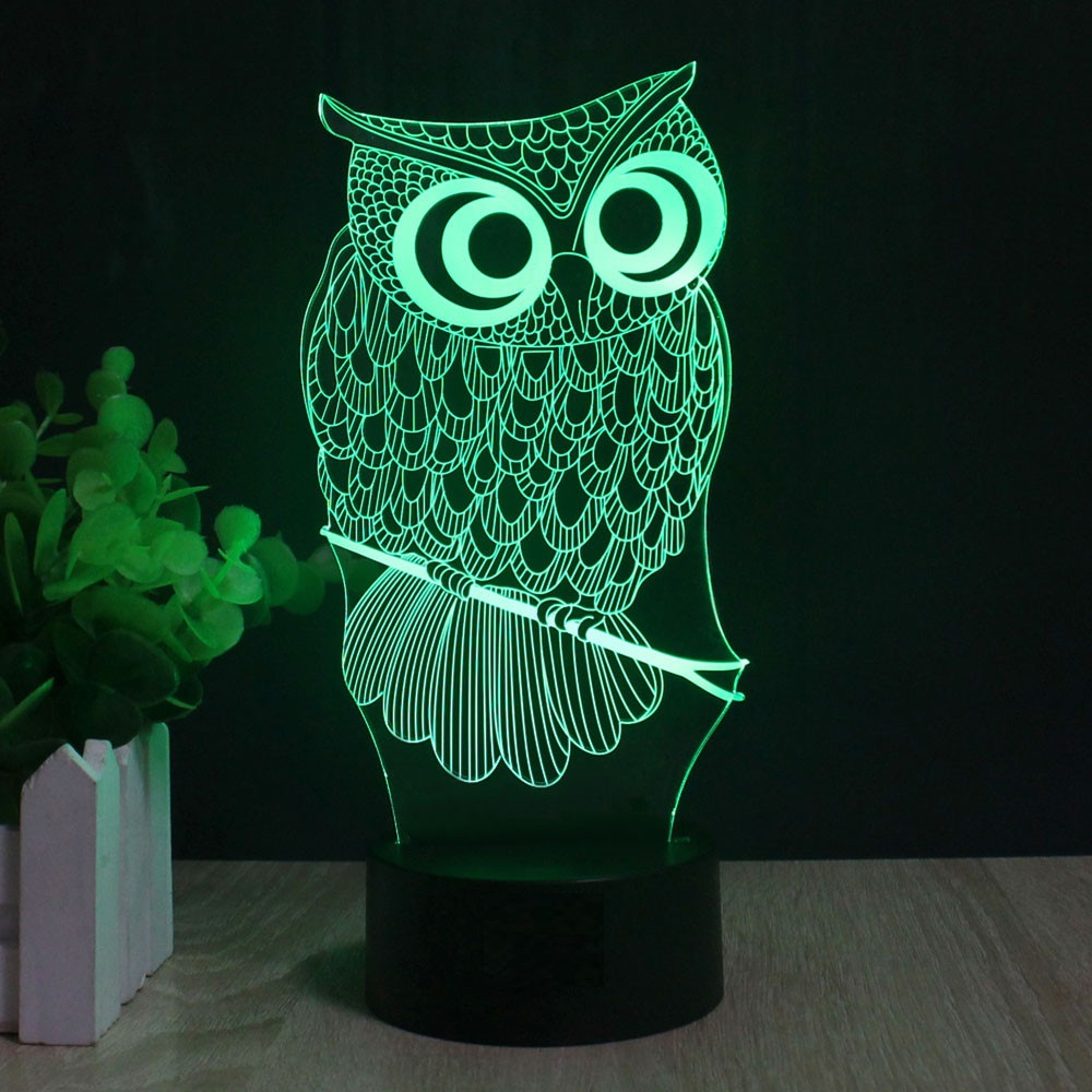 RC Remote or Touch Owl 3D Night Light 3 or 7 Colors Change Mood Lamp LED DC 5V USB Decor Table Lamp Baby Sleeping Nightlight