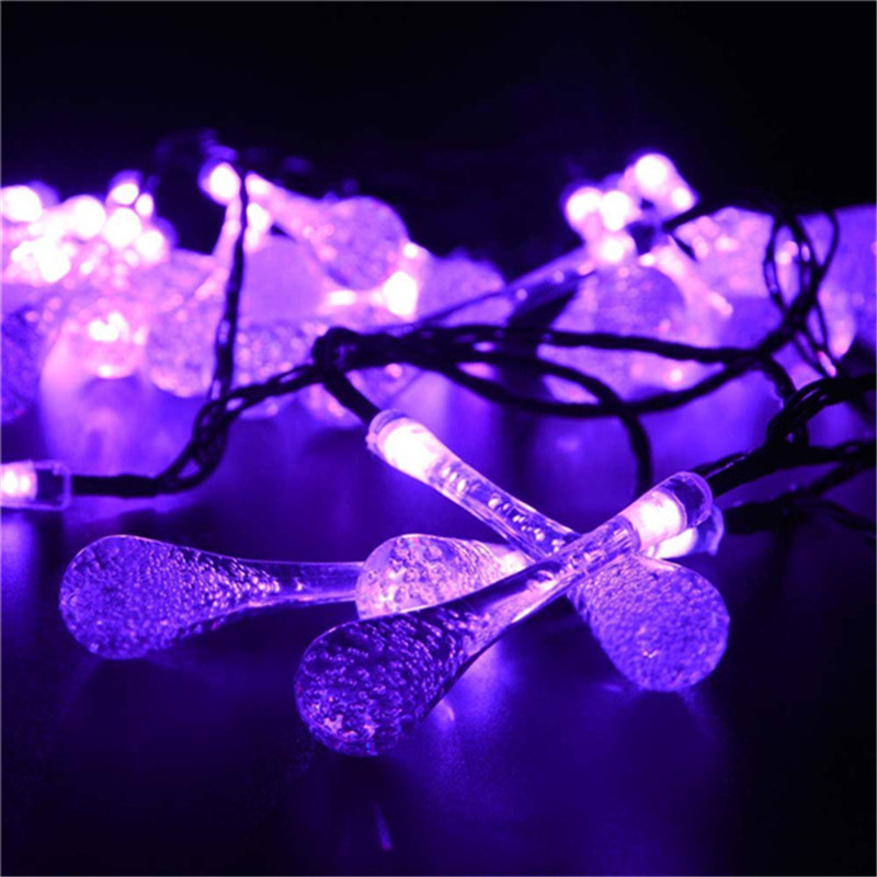 8Modes 5M 30LED Solar Fairy Lights Waterproof Outdoor Garden Christmas Halloween Water Drop Solar Decoration String Lights