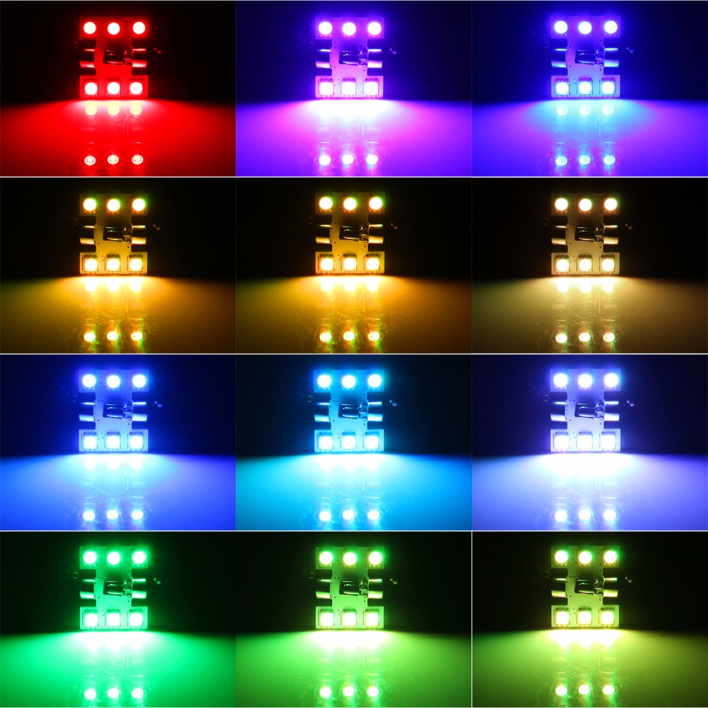 2PCS RGB 7 Colors Changeable Car LED Festoon Lights C5W 31MM 36MM 39MM 41MM Bulb Interior Light Reading lamp With Remote Control