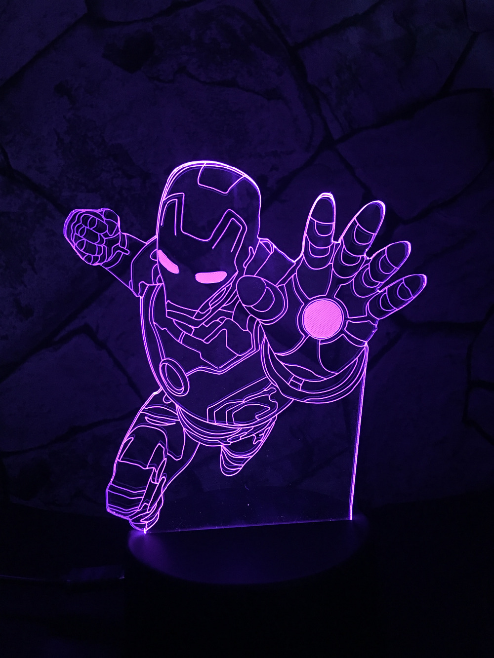 Novelty Superhero Ironman Action Figure 7 Colors Changing LED 3D Night Lamp lampada Child Kid Table Bedroom Bedside Light Gifts