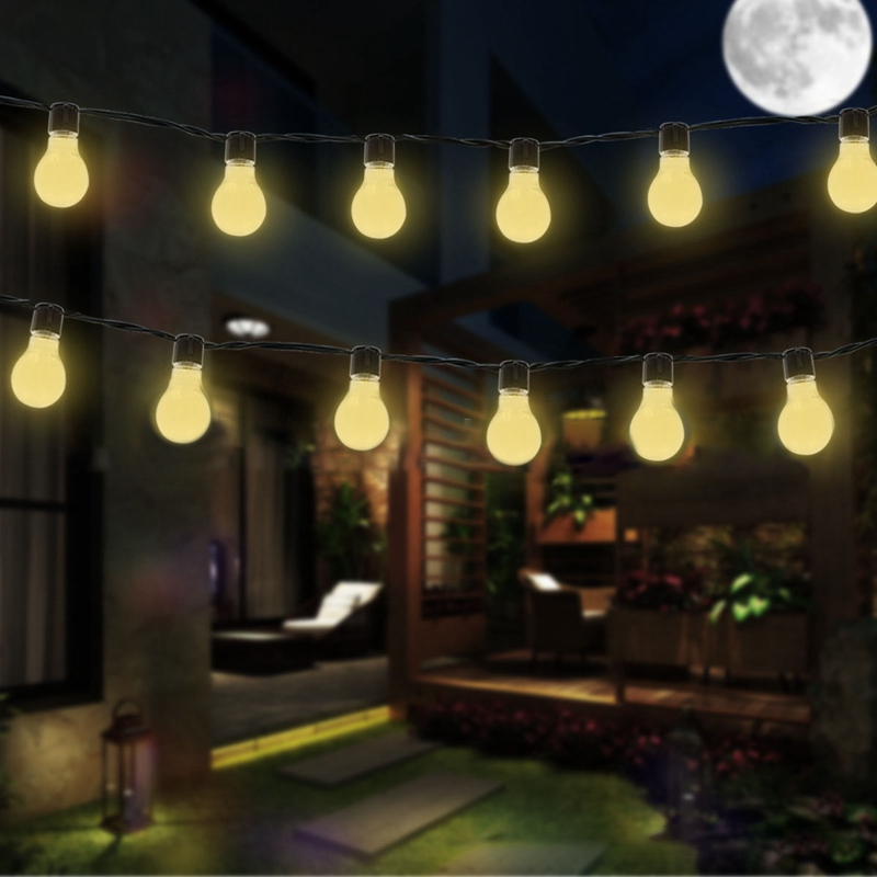 Solar Powered 3.5M Waterproof Ball 10 LED String Light Garland Vintage Chain Clear Bulb For Celebration Holiday Lamp Decor