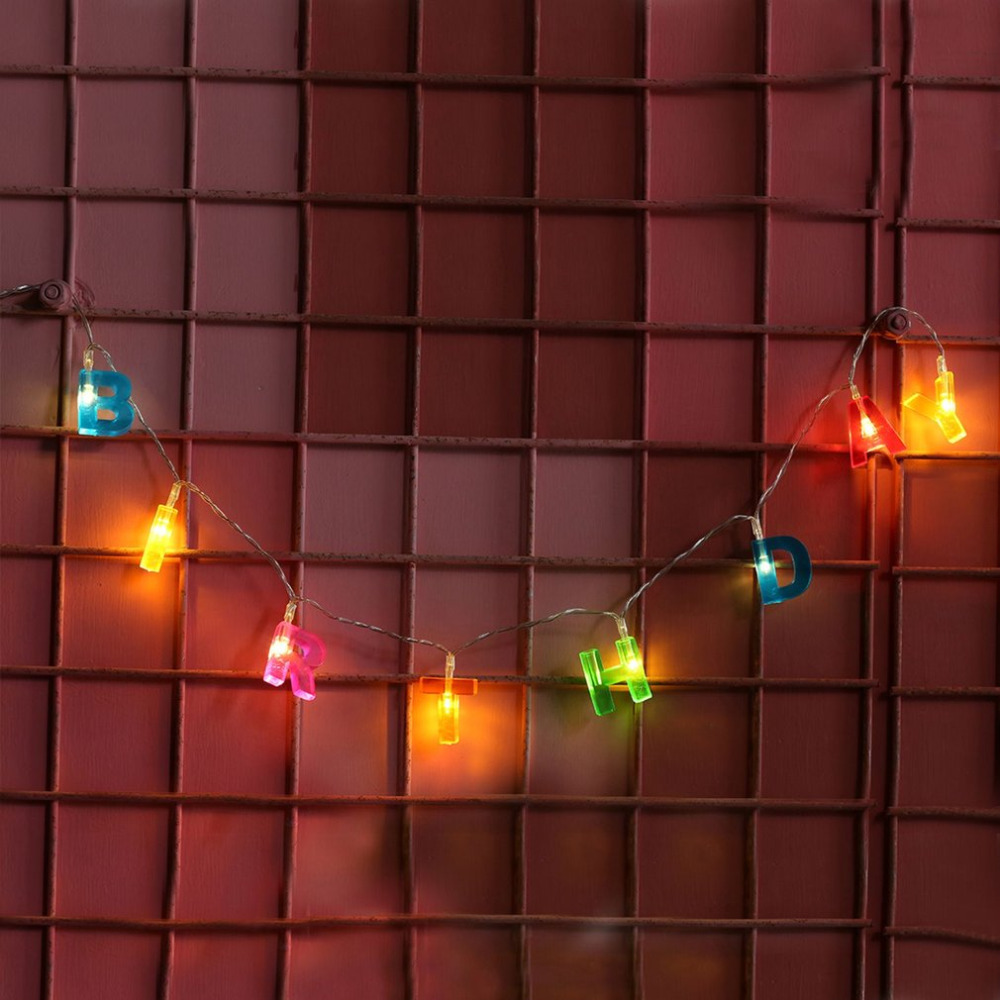 13 LED HAPPY BIRTHDAY Letters Fairy String Lights Home Party Decor Lanterns 1.3m Battery Operated Waterproof Lighting Strings