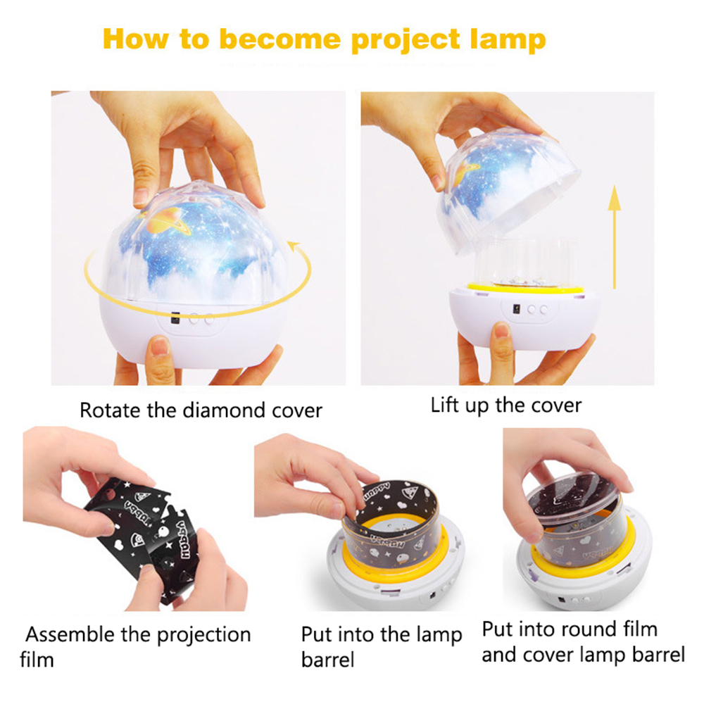 iTimo USB Projector Lamp Brithday Gift Novelty Lighting Universe Starry Star Moon Lamp Room Decoration Rotation LED Night Light