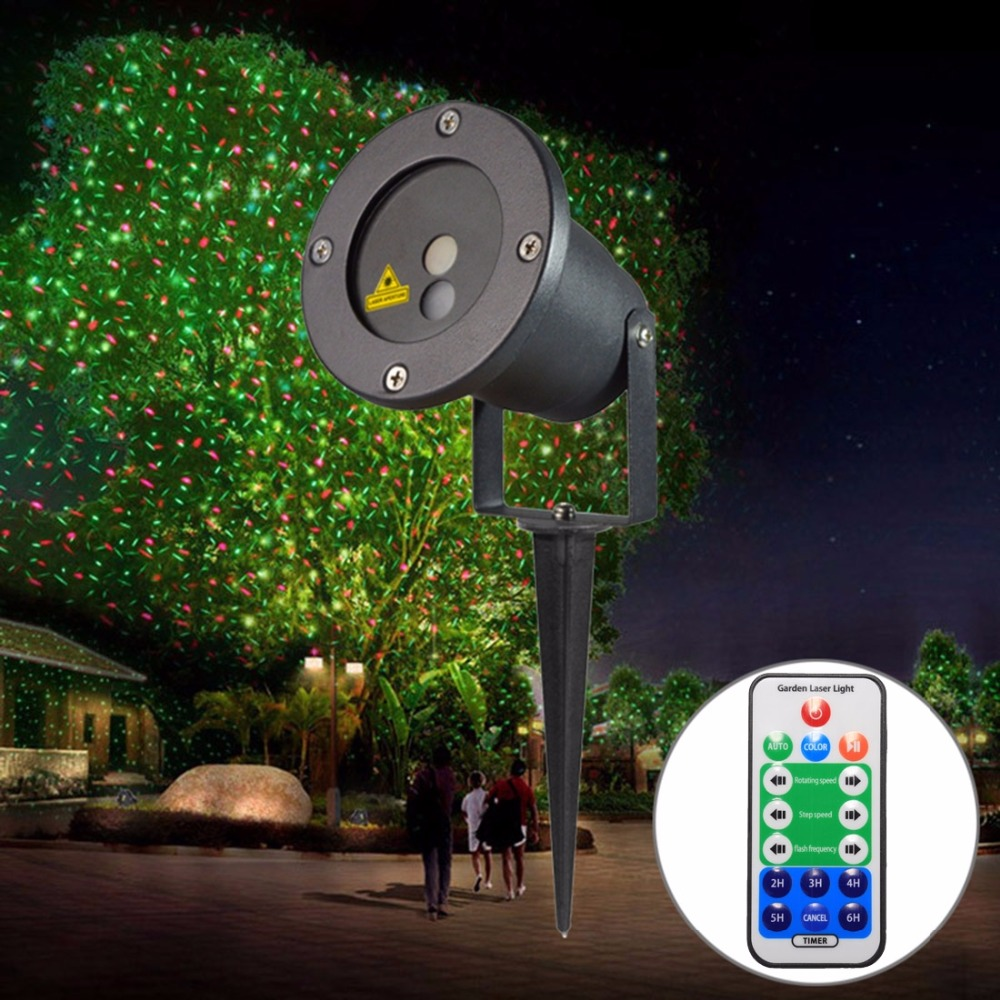 OD-100 5W Life Waterproof Stars Pattern Outdoor Lawn Yard Garden Decorative Laser Projector Lamp with Remote Controller