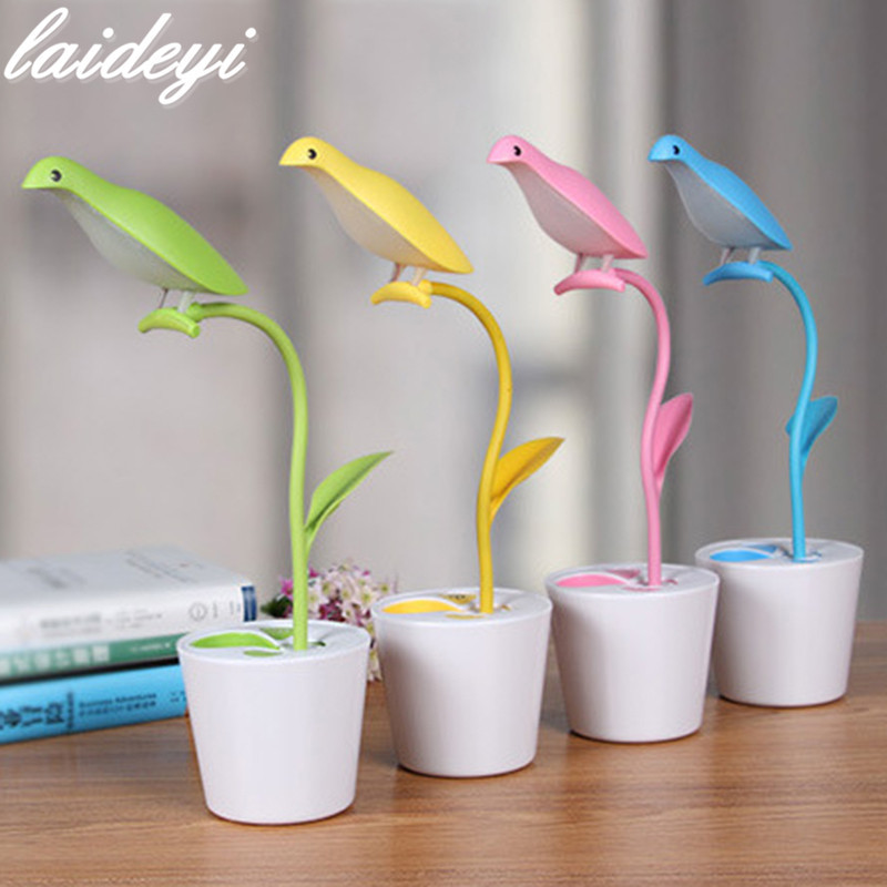 LAIDEYI 3 Level Dimmable USB Desk Light Flexible Foldable Bird Shape And Pen Holder Table Lamp Intelligent Touch Switch Light