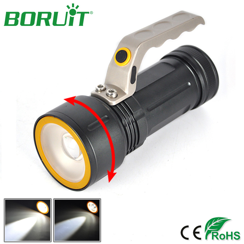 Boruit XML T6 LED Flashlight Zoomable 4-Mode Flash Light Portable