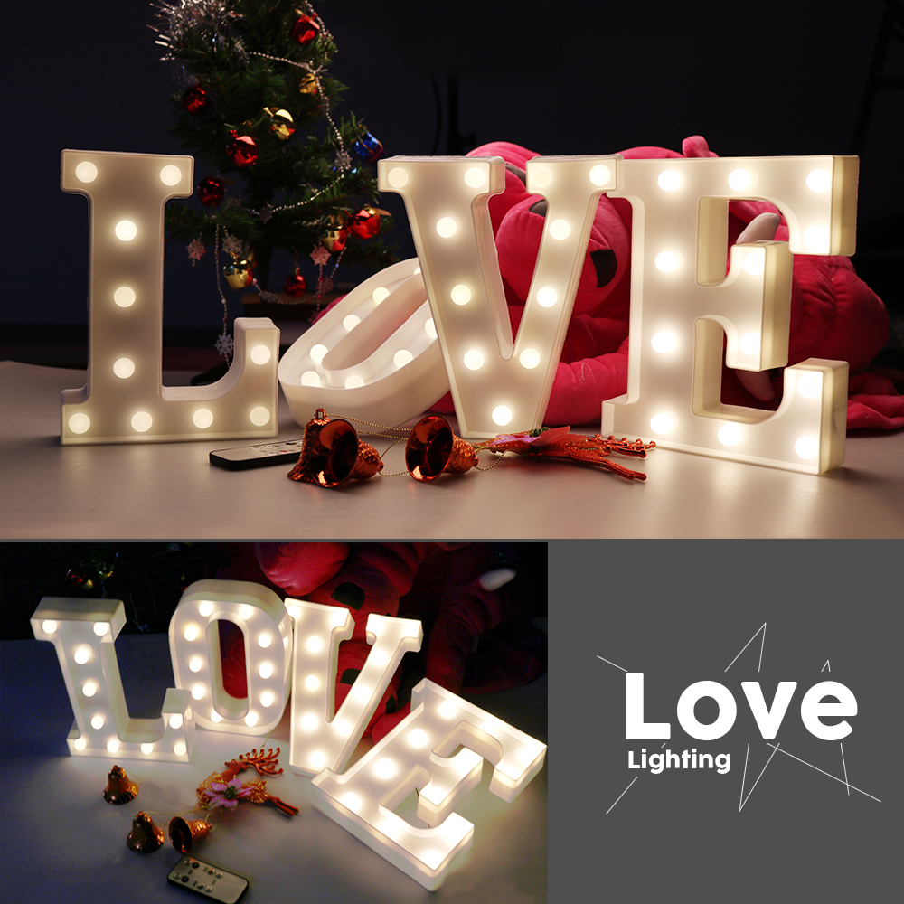 Night Light 26 Letter Remote Control Lamp White LED Wedding Christmas Decoration Nightlight Children Bedroom Children's Toys