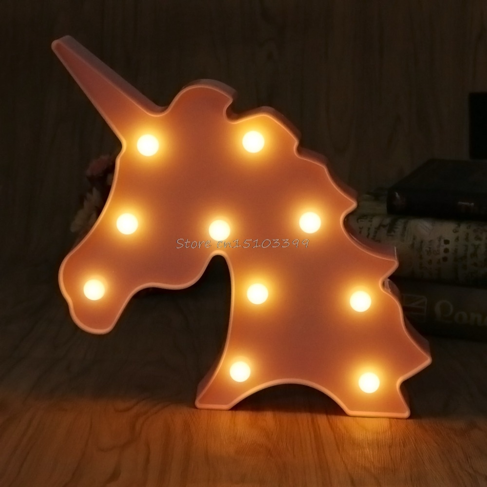 3D Marquee Unicorn Table Lamp 10 LED Battery Operated Night Light Children's Room Decor Indoor Lighting #G205M# Best Quality