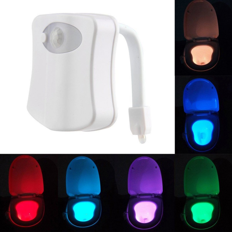 8 Colors Bowl Bathroom Night Light Lamp LED Light Human Motion Sensor Automatic Toilet Seat Fashion Style