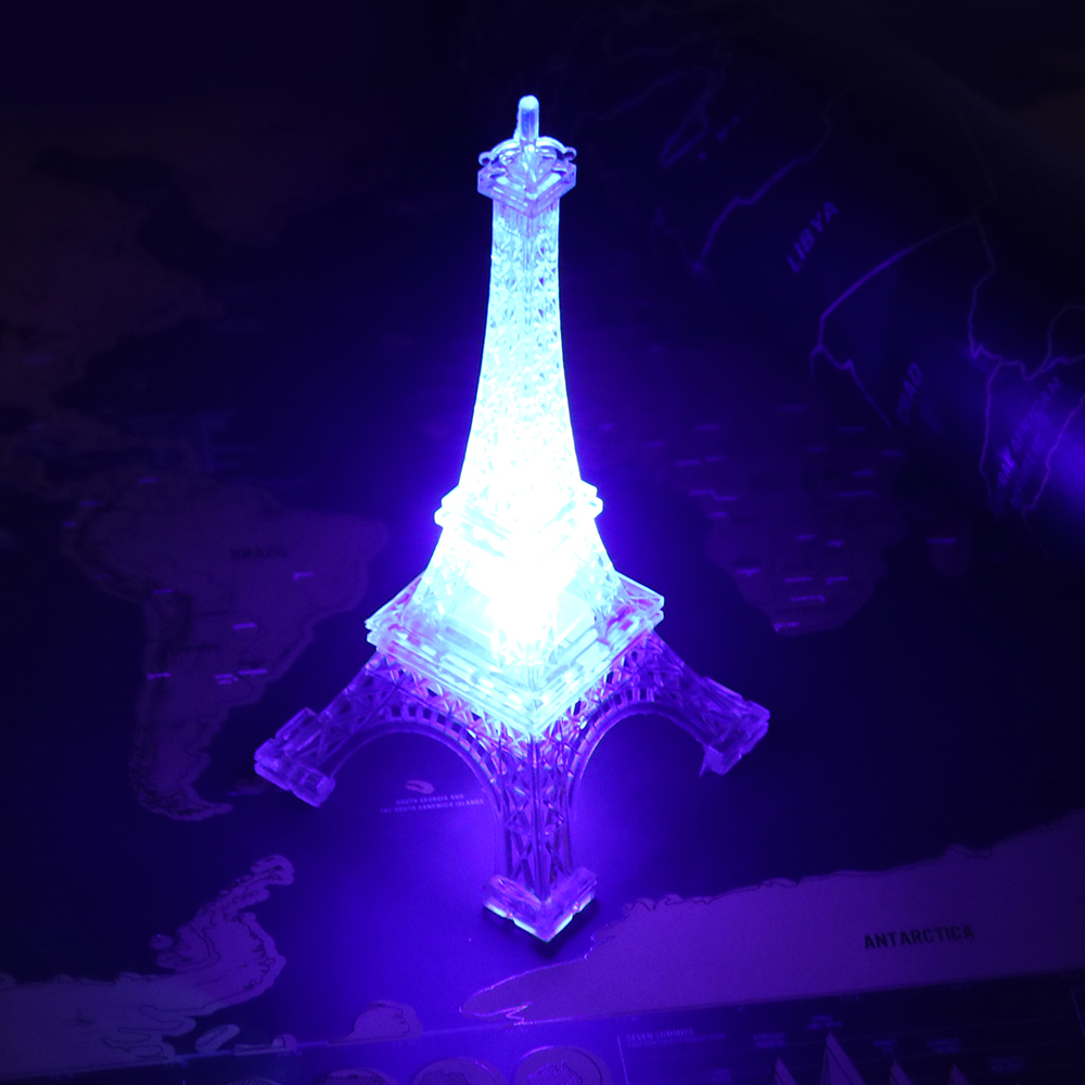 Colorful Eiffel Tower Paris Style Decoration LED Night Light Fashion Bedroom Table Lamp Acrylic Children Nightlight