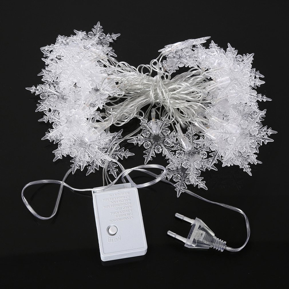 40LED 5M 220C EU Plug Snowflake Shape LED String Light Indoor Outdoor Christmas Holiday Decoration Fairy String Light