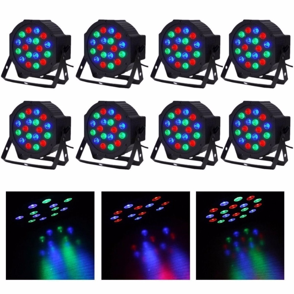 8pcs 18*3W RGB Led Stage Light 110V 220V High Power Par Light With DMX512 Master Slave Flat DJ Equipments for Party Disco