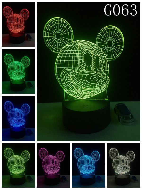 Mickey Mouse 3D Night Light Atmosphere Table Lamp Christmas Gifts Color Changing Home Decoration