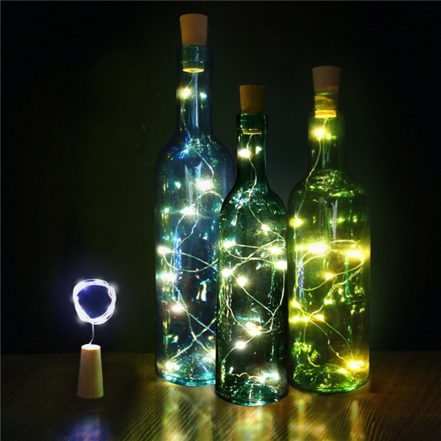 3/6pcs led wine bottle cork string light Christmas lights garland silvery copper wire Starry fairy light wedding party decor