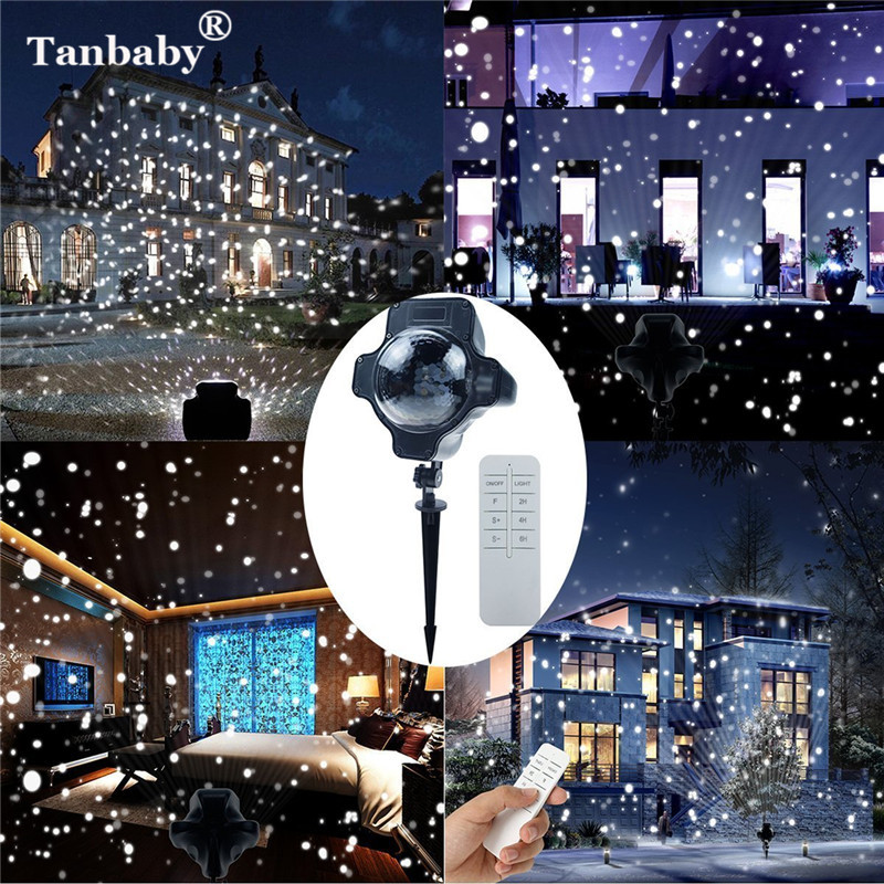 Tanbaby Waterproof Outdoor/ Indoor EU US UK Rotatable Projector Landscape Snowflake LED Light Lamp with Remote Controller