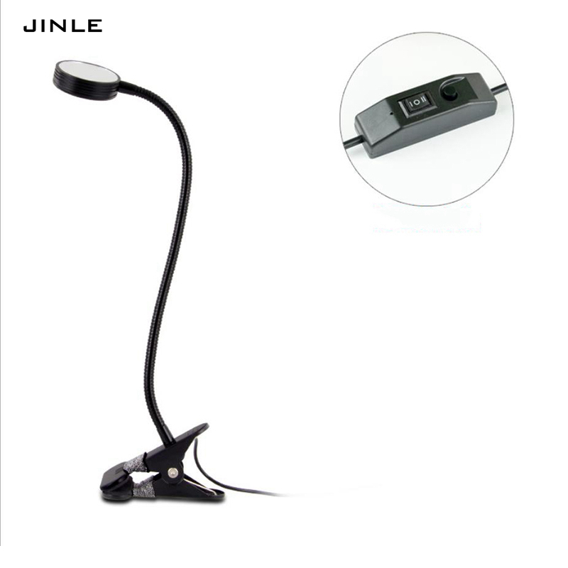 JINLE Led clip make-up mirror small Table lamp usb Power supply 5V 3W Three color change light soft light protect eyes book lamp