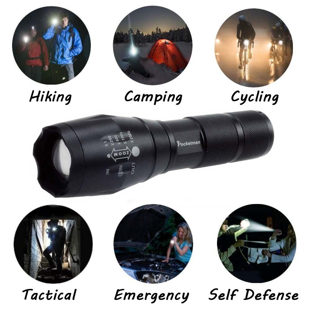 Newest 100% Authentic 3800 Lumens 5-Mode CREE XM-L T6 LED Flashlight Zoomable rechargeable Focus Torch by 1*18650 or 3*AAA