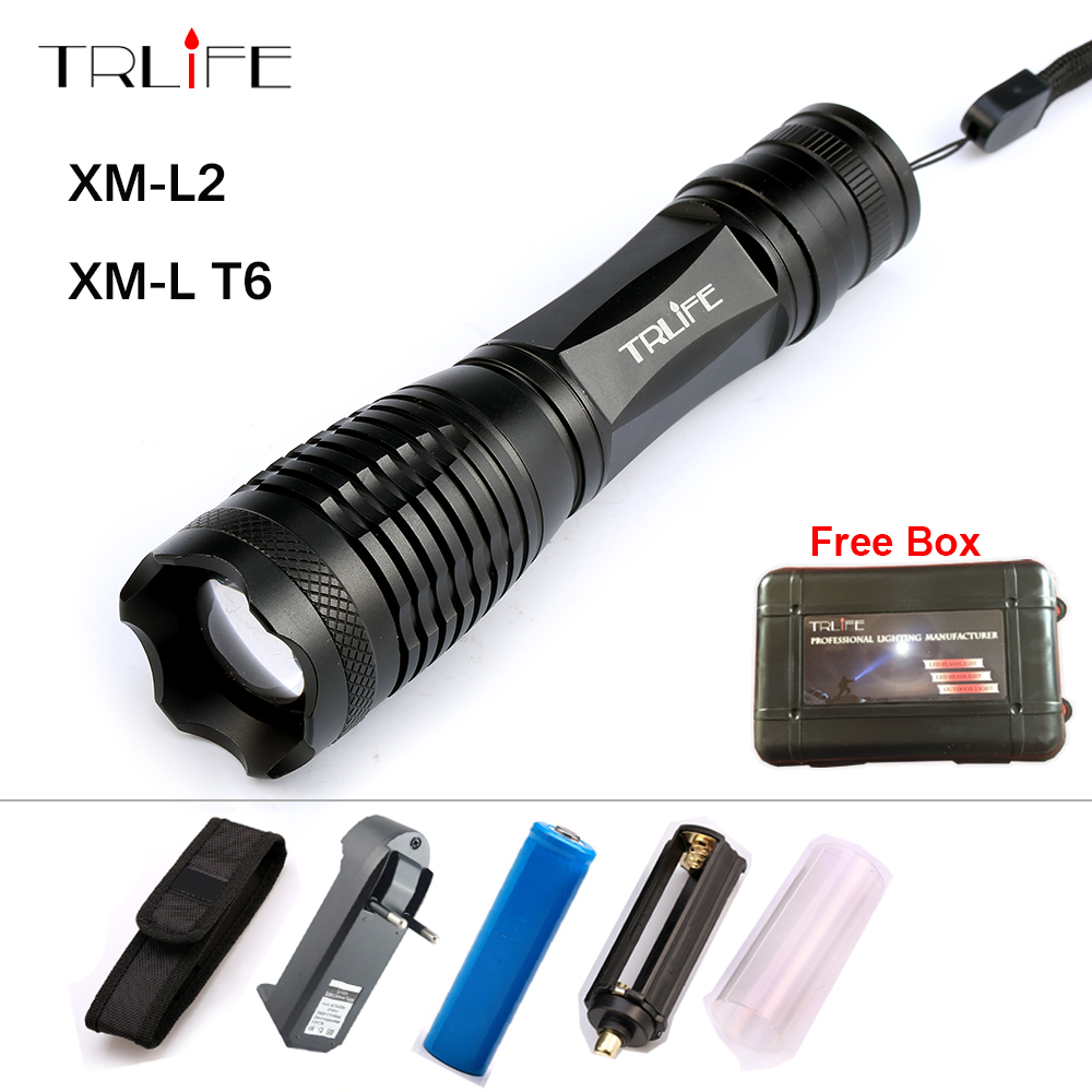 8000 Lm Flashlight Zoomable/Adjustable Lamp LED CREE XM-L T6 L2 Tactical Camping Light Lanterna +18650 Battery+ Charger FREE GIF