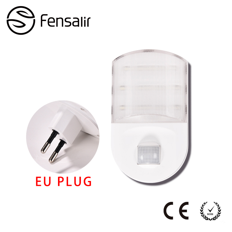 0.6W AC220V Eu Plug LED Night Lamp Motion Sensor Night Light with PIR  Lamp Bookcase Showcase Wireless Wall AA Battery SNL03