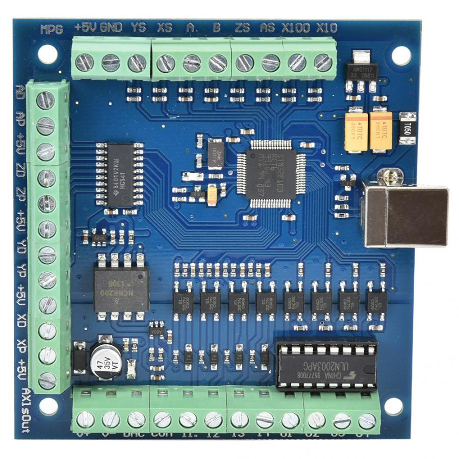 CNC Motion Controller 4 Axle 100K Mach3 Motion Control Card CNC Driving Card + Electric Handwheel Set CNC Driver Card Set