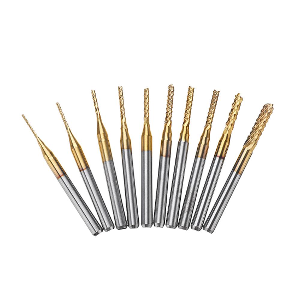 "10pcs 1.0-3.0mm PCB Engraving Bit Drill Bit Set Carbide End Mill 1/8"" Shank Titanium Coated CNC Milling Cutter for PCB Machine"