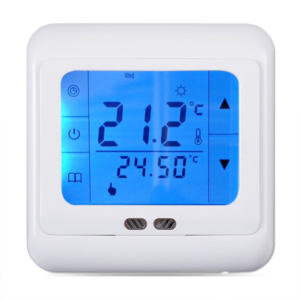 FLOUREON 16A Touch Screen Thermostat LCD Underfloor Heating Regulator Weekly Programmable Digital Home Temperature Controller