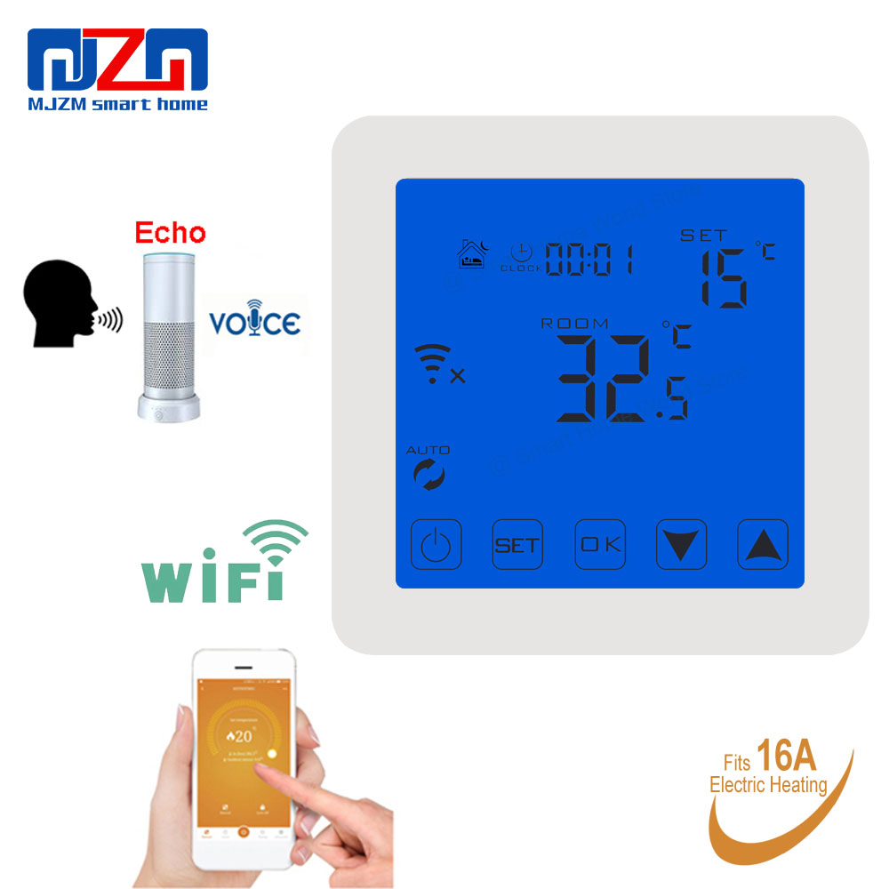 MJZM 16A08-1-WiFi Thermostat for Warm Electric Underfloor Heating Alexa Voice Control Indoor Air WiFi Thermostat Controller