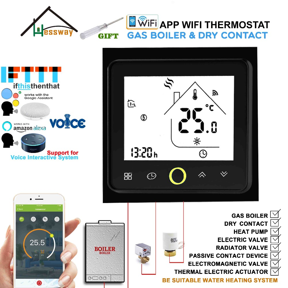 Works with Alexa Google Home EU 3A Gas Boiler Thermostat Switch WiFi Contact Valve Radiator for Dry Contact &Passive Contact