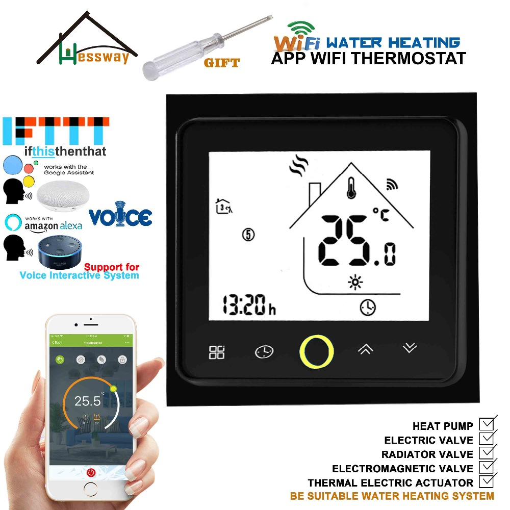 3A Weekly Programmable Wireless Room RF&WiFi Floor Heating Thermostat for Underfloor Warm System Works with Alexa Google Home