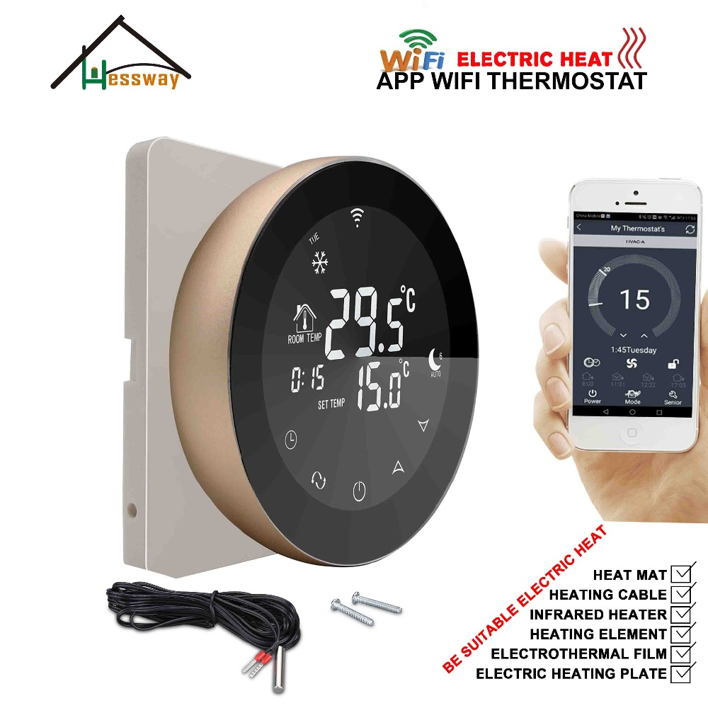 HESSWAY Double Sensor Electric Temperature Controller WiFi THERMOSTAT 16A for Heat Control
