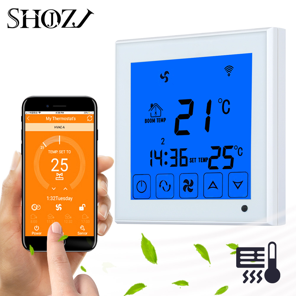 Smart Central Air Conditioner Temperature Controller 2P 4P Fan Coil Thermostat for Heating/Cooling Room Temperature